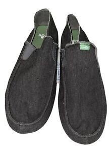 Sanuk Mens Size 10 Charcoal Gray Slip On Shoe, Comfort Yoga Mat Sole