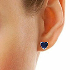 Natural 3.00 Ct Heart Solitaire Blue Sapphire Earrings 14K White Gold Studs