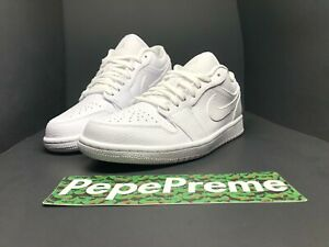 NEW Nike Air Jordan 1 Low Triple White Tumbled Leather Multi Size 553558-130