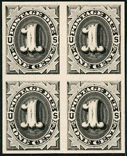 #J1Tc4a Trial Color Plate Proof On Card Blk/4 Xf-Superb 1¢ Postage Due Bt4527