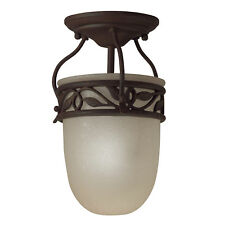 Tannery Bronze and Antique Etched Seedy Glass Semi Flush Ceiling Light