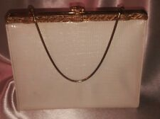 White Evening Purse Joseph Magnin Vintage Lizard Gold Frame Coin Purse Excel