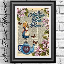 LIBRO DIZIONARIO pagina MONTATO Alice nel paese delle meraviglie Tea Time FIORI Decorazioni da parete