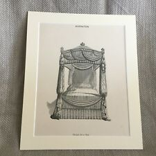 1900 Print Boudoir Furniture Four Poster Bed Drawing Bedroom Interior Design