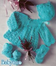 BABY MATINEE COAT BONNET BOOTEES MITTENS KNITTING PATTERN 16/19 INCH (1319)