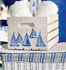 WALLIES SAILBOATS blue wall stickers 25 decals nautical decor sea ocean sail