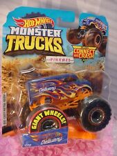 2019 MONSTER Trucks HOT WHEELS DELIVERY☆blue Dairy Delivery; FLAMES☆Connect