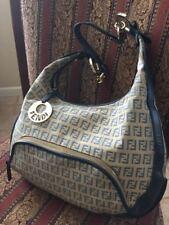 FENDI  Zucca Leather Canvas Hobo Bag Shoulder Handbag Size Medium