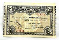 Spain- Guerra Civil. Billete. 25 Pesetas 1937. Bilbao.  EBC-/XF-