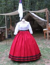 Civil War Dress~Victorian Style 100% Cotton Solid Brick Red Skirt~Black Lace