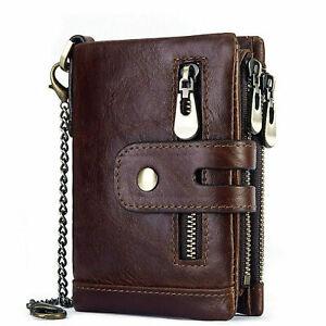 Men Leather RFID Anti-theft Chain Cash Purse Biker Wallet Card Holder