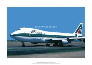"""Alitalia Boeing 747-243B A2 Art Print - Departing Sydney - 59 x 42 cm 23"""" x 17"""""""