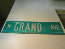 """Real Deal Decommissioned Vintage Grand Ave Street Sign - Heavy - 6"""" x 24"""" - Nice"""