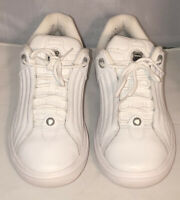 K-SWISS Mens Athletic Leather Casual Shoes Chilton All White Size 10.5