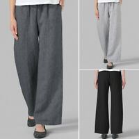 ZANZEA 8-24 Women Elastic Waist Trousers Palazzo Culottes Plain Wide Leg Pants