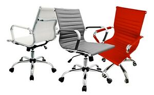 Modern Classic Office Chair Home Conference PC Ribbed Swivel Black/White/Red