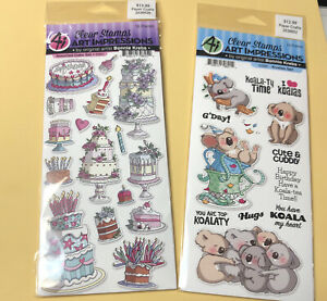 2 Art Impressions Clear Stamp Sets~~Assorted Cakes and Koalas ~~ New In Packages