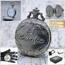 SILVER Antique GRANDPA Cover Mens Gifts Quartz Pocket Watch Fob Chain Box P220