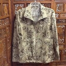 ZENERGY by CHICO'S Stretchy Brown Floral Reptile Print Light Jacket Blazer Sz 2
