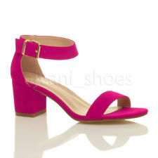 Womens Ladies Low Mid Heel PEEP Toe Buckle Ankle Strap Party Strappy Sandal Size UK 8 / EU 41 / US 10 Fuchsia Suede