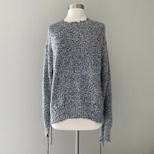 Helmut Lang Cashmere Distressed Relaxed Sweater Size XS Black White Marled $425