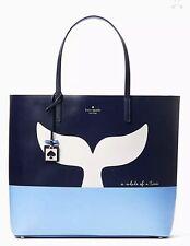 Kate Spade Off We Go Whale Tail Blue Beach Large Len Tote Bag NWT