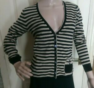 Linea Small black and beige striped Cardigan