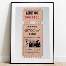 More details for fleetwood mac reproduction ticket stub art print, stevie nicks poster, wall art