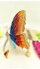 Cute NWT Betsey Johnson Necklace Colorful Rainbow Pearl Butterfly
