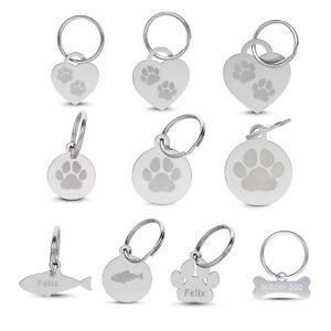 Personalised Engraved Stainless Steel ID Pet Tag Paw Print Bone Fish Dog Cat Mix