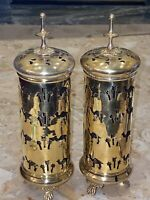 """Vintage Brass Footed Carriage Candle Lantern Camel Palm Trees 10x3.5"""" Set of 2"""