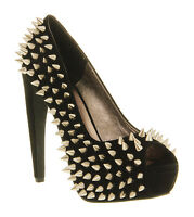 Womens Jeffrey Campbell During Spike High Heel BLACK SUEDE SILVER SPIKES Heels