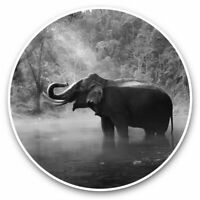 2 x Vinyl Stickers 10cm bw Jungle Elephant Wild Animal  #42301