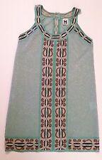 M Missoni Turquoise Metallic Knit Halter Sheath Dress Size 4 NWOT