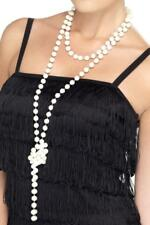 LADIES 20's WHITE PEARL NECKLACE ADULT 20s FLAPPER FANCY DRESS COSTUME ACCESSORY