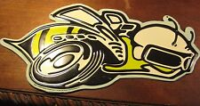 "HORNET  YELLOW JACKETS  METAL EMBOSSED SIGN  16""  SCHOOL  DODGE MASCOT BEE RACER"
