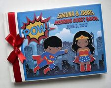 Personalised Superheroes comics wedding guest book, Superman and Wonderwoman