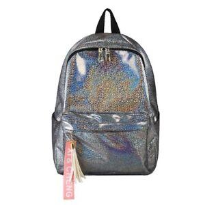 Silver Laser Backpack Glitter Bling School Bag Teenage Girls Large Accessories