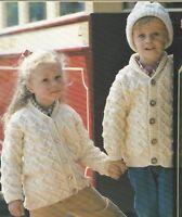 "Baby Aran Cardigan, Jacket and Hat Knitting Pattern 20-28"" Girls, Boys 1055"