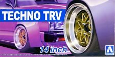 "Aoshima 1/24 Techno TRV 14"" Wheel Rims & Tire Set For Plastic Models 5386 (53)"