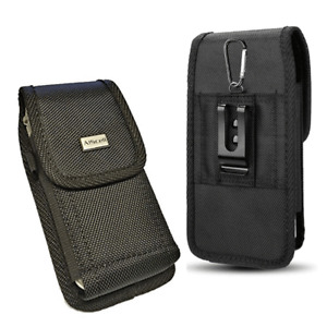For Motorola Moto E6 Rugged Holster Tactical Pouch Nylon Metal Belt Clip Case