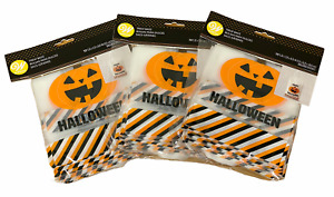 New 30ct WILTON Halloween JACKOLANTERN Treat Bags w/ Handles 3x10pk CLEAR Orange