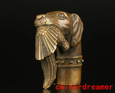 CHINESE COLLECTIONS HAND CASTING BRASS DOG STATUE WALKING STICK HANDLE