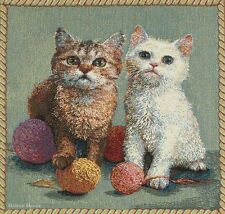 """20"""" DECORATIVE TAPESTRY PILLOW COVER Kittens EUROPEAN CUSHION CAT ANIMAL ACCENT"""