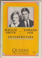 "Maggie Smith & Edward Fox   ""Interpreters""   Playbill  (program)  London  1985"