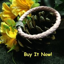 Pink Braided Leather Dazzling Diamond-like Crystals Silver Magnetic Clasp GH