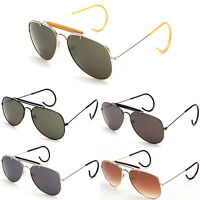 Classic Vintage Aviator Sunglass Metal Brow Bar Cable Temple Secured fit
