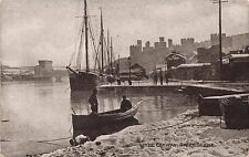 CONWAY CONWY UK~RIVER SCENE~BOATS SHIPS~PHOTOCHROM SEPIATONE SERIES POSTCARD