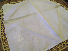 VINTAGE LADIES HANKIE YELLOW CROCHETED EDGES HAND DONE