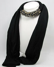 COUTURE Natural Onyx Quartz Jeweled Scarf Black GORGEOUS $225